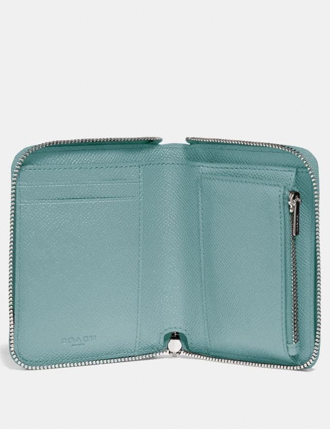 Coach Small Zip Around Wallet Sage/Silver New Women's New Arrivals Wallets & Wristlets Alternate View 1