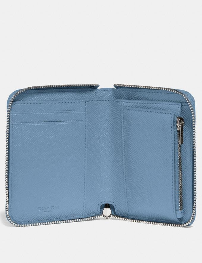 Coach Small Zip Around Wallet Slate/Silver Women Small Leather Goods Small Wallets Alternate View 1