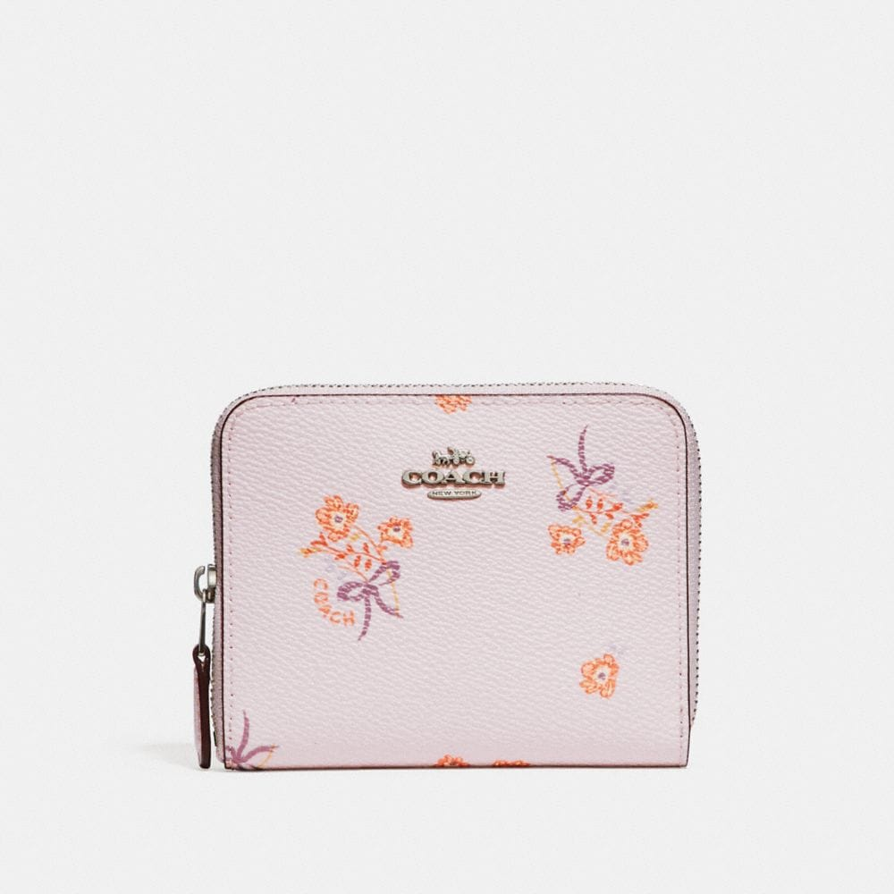 Coach Small Zip Around Wallet With Floral Bow Print