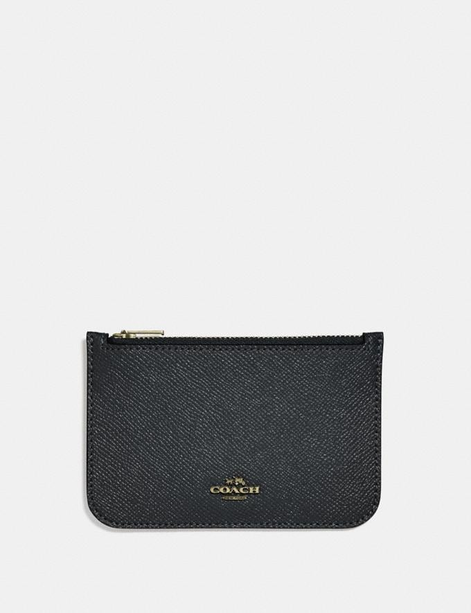 Coach Zip Card Case Black/Light Gold New Featured Online Exclusives