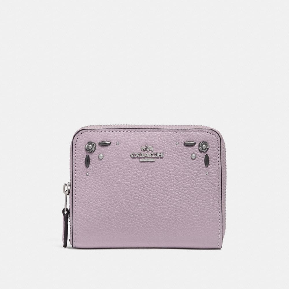Coach Small Zip Around Wallet With Prairie Rivets Detail
