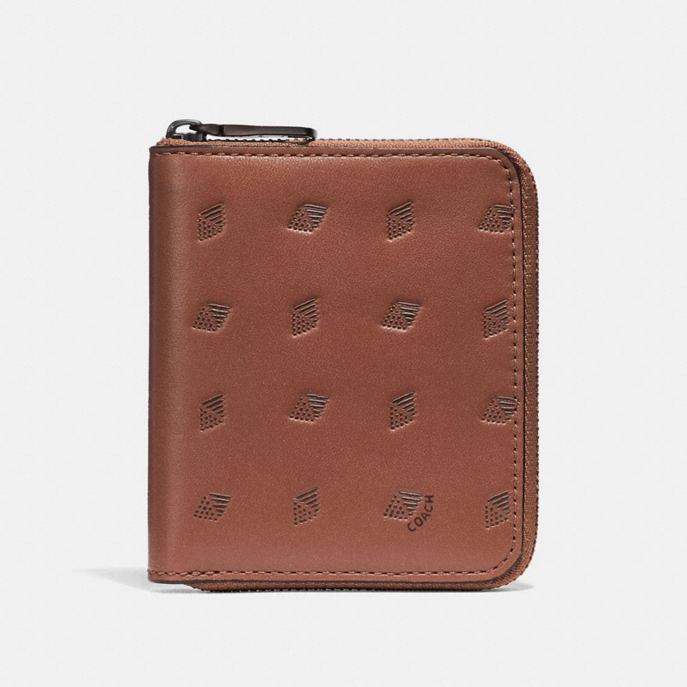 Coach Small Zip Around Wallet With Dot Diamond Print