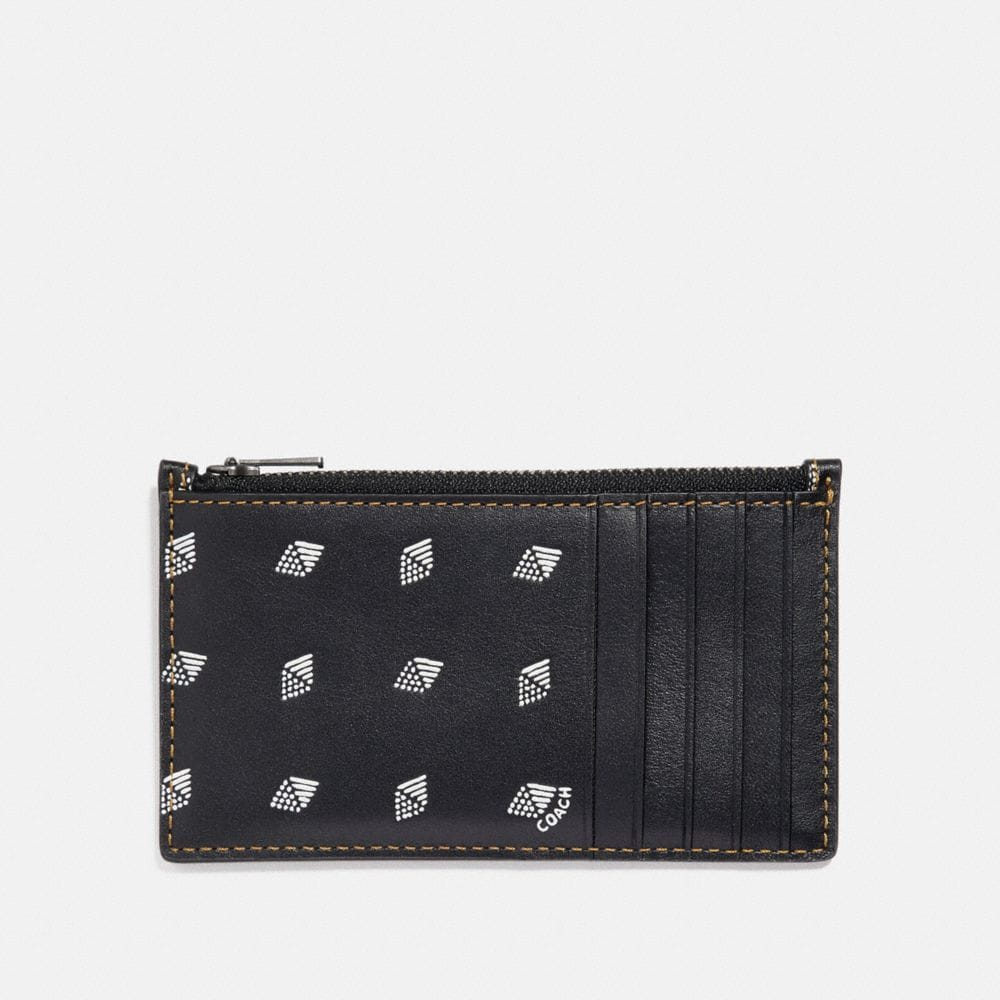 Coach Zip Card Case With Dot Diamond Print