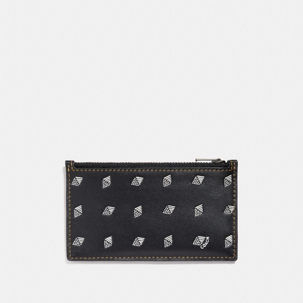 Coach Zip Card Case With Dot Diamond Print Alternate View 1
