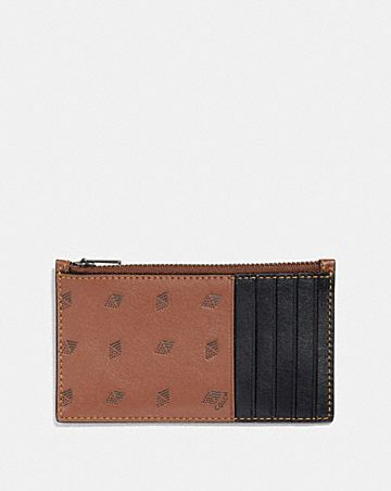 Mens card cases coach zip card case with dot diamond print colourmoves