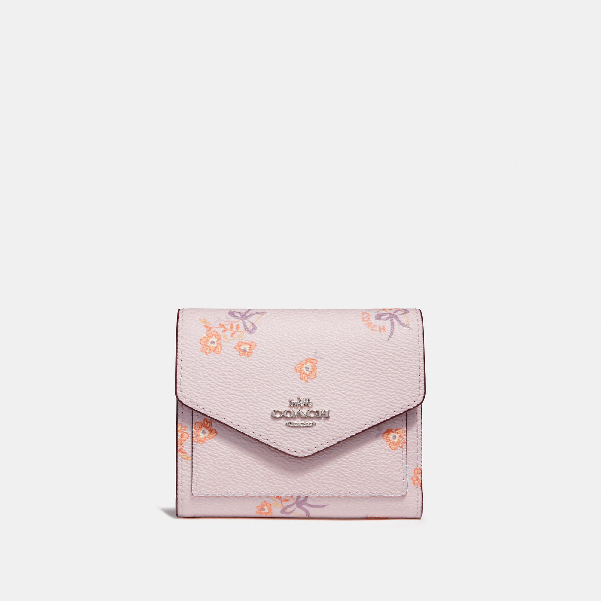 d55934a7f9813 Coach Small Wallet With Floral Bow Print In Ice Pink Floral Bow/Silver