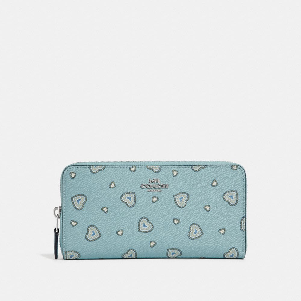 Coach Accordion Zip Wallet With Western Heart Print