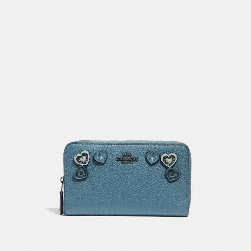 Coach Medium Zip Around Wallet With Hearts