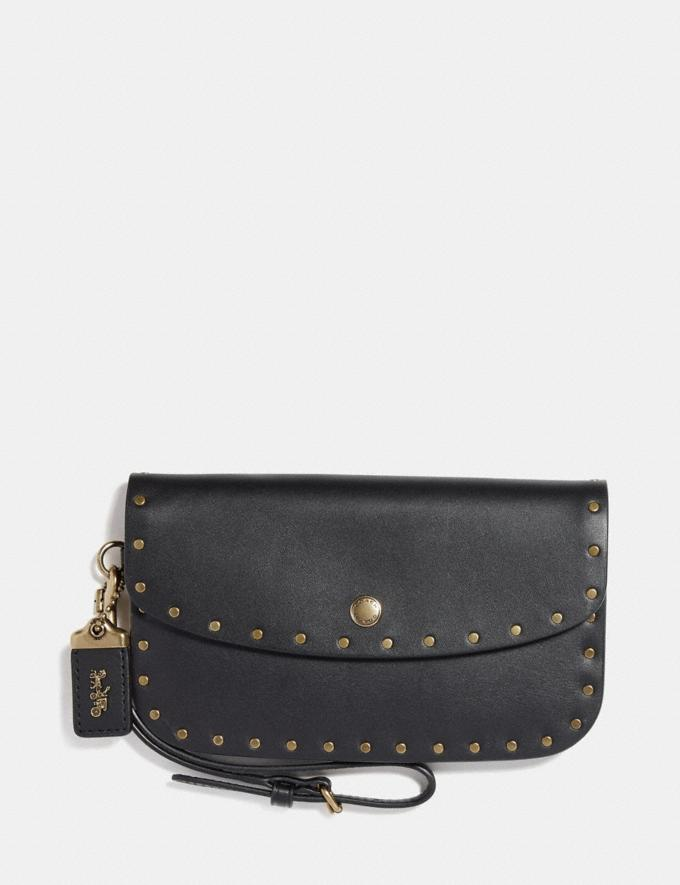 Coach Clutch With Rivets Black/Brass Women Bags Clutches