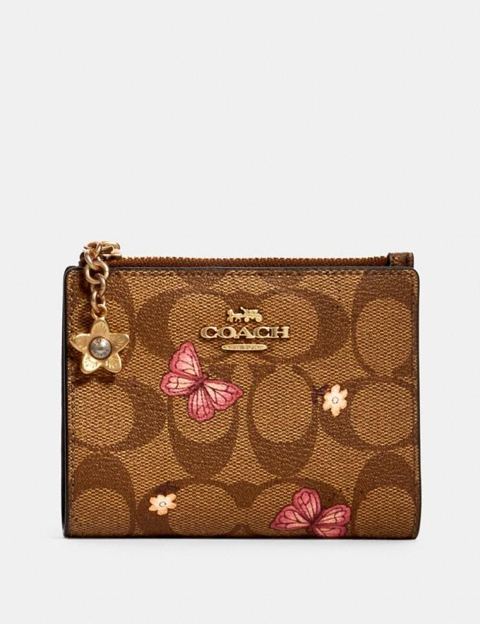 Coach Snap Card Case in Signature Canvas With Butterfly Print Im/Khaki Pink Multi