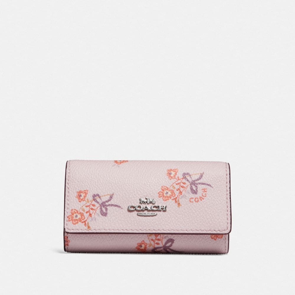 six ring key case with floral bow print