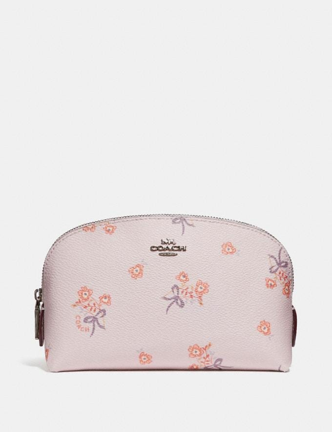Coach Cosmetic Case 17 With Floral Bow Print Ice Pink Floral Bow/Silver Women Accessories Cosmetic Cases