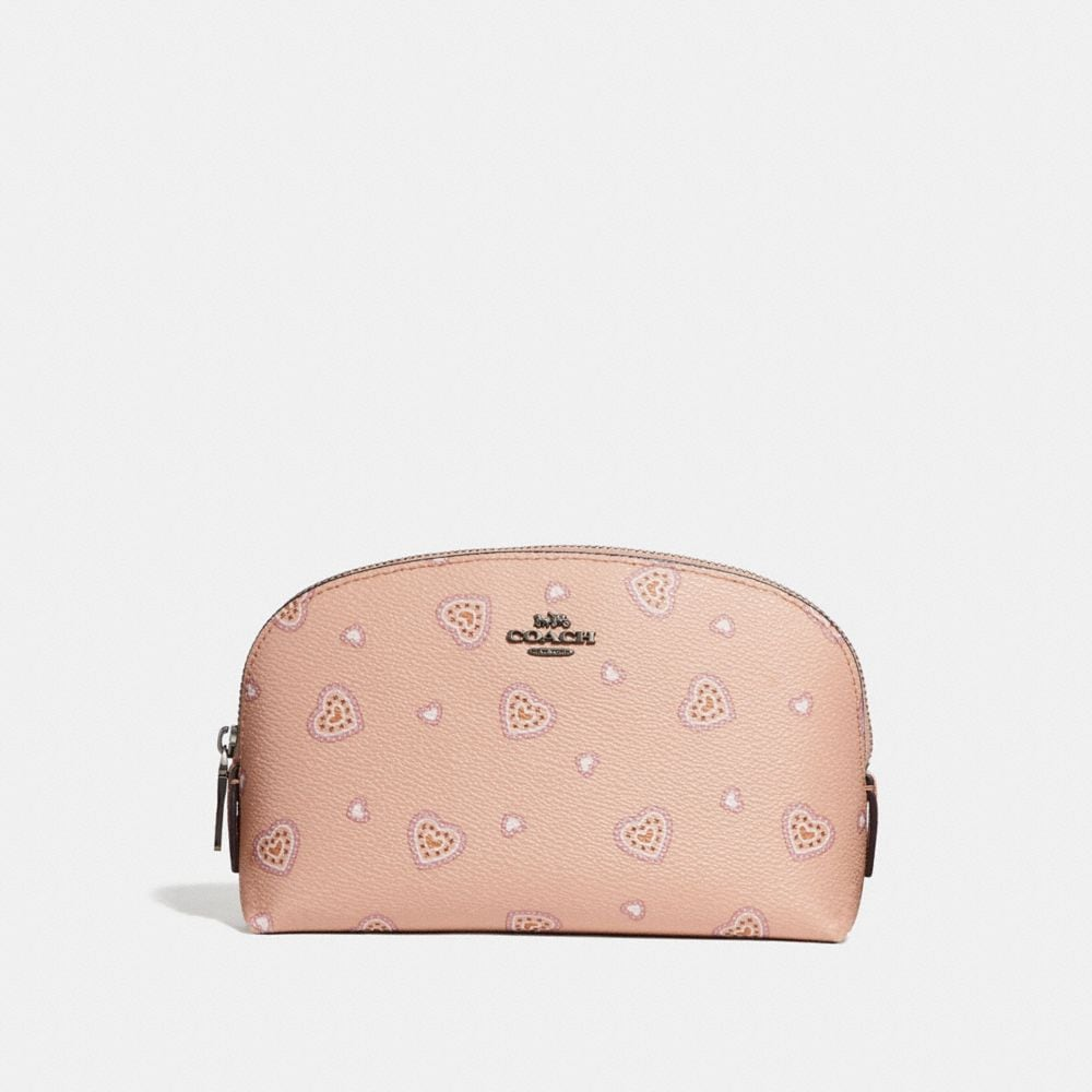 Coach Cosmetic Case 17 With Western Heart Print