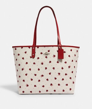 REVERSIBLE CITY TOTE WITH LADYBUG PRINT