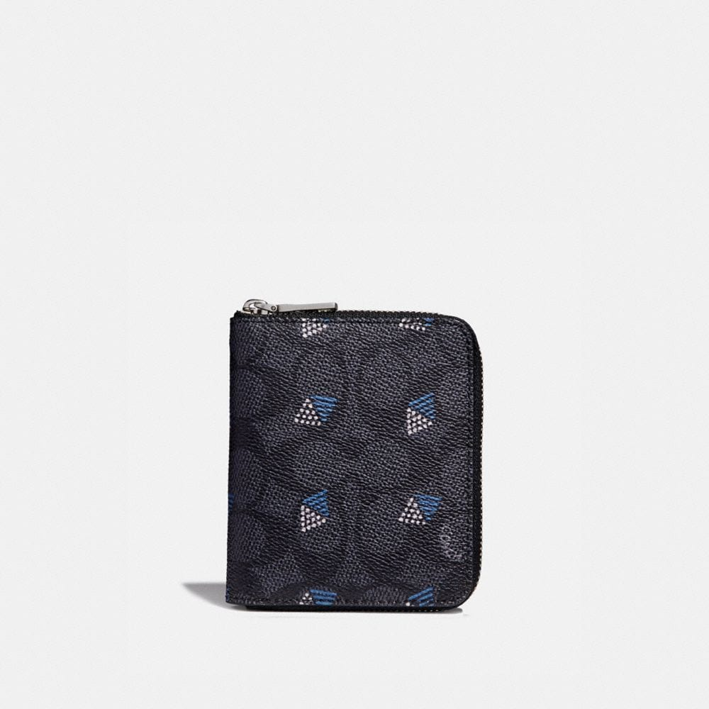 Coach Small Zip Around Wallet in Signature Canvas With Dot Diamond Print