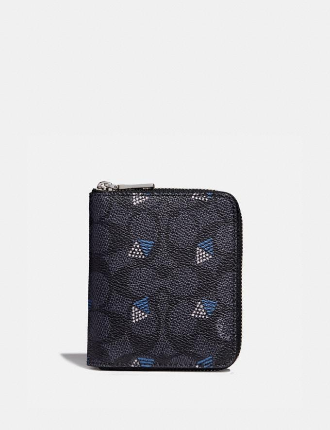 Coach Small Zip Around Wallet in Signature Canvas With Dot Diamond Print Charcoal Men Wallets Card Cases