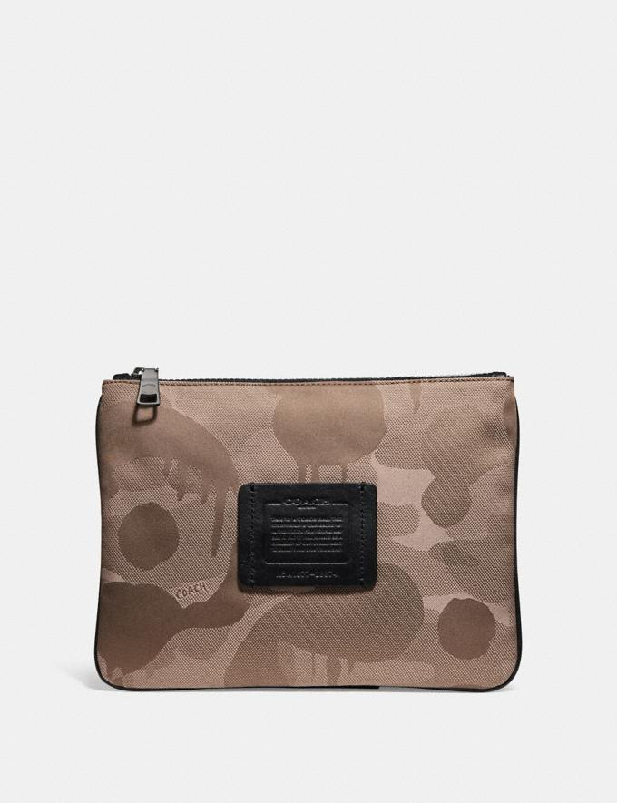 Coach Multifunctional Pouch With Wild Beast Print Light Khaki Men Accessories Tech & Travel