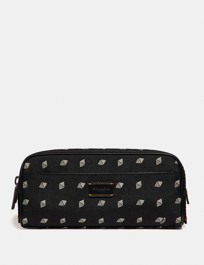 Coach Dopp Kit With Dot Diamond Print Black/Chalk SALE Sale Edits New to Sale New to Sale