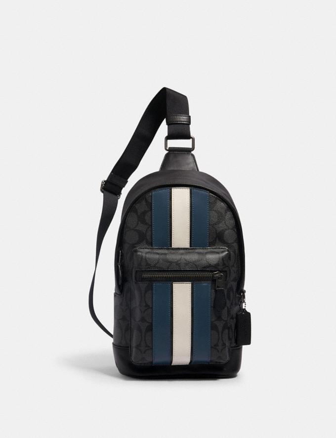 Coach West Pack in Signature Canvas With Varsity Stripe Qb/Charcoal/Denim/Chalk