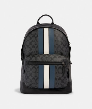 WEST BACKPACK IN SIGNATURE CANVAS WITH VARSITY STRIPE