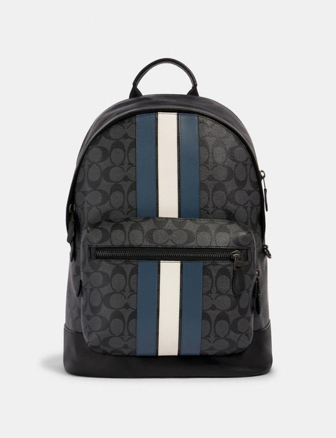 Coach West Backpack in Signature Canvas With Varsity Stripe Qb/Charcoal/Denim/Chalk Men