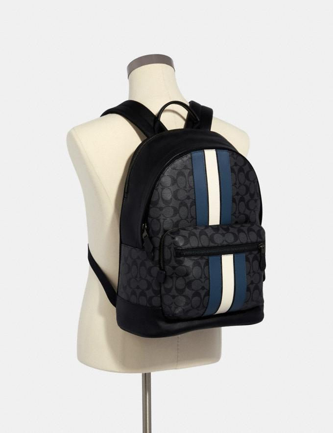 Coach West Backpack in Signature Canvas With Varsity Stripe Qb/Charcoal/Denim/Chalk Men Alternate View 2