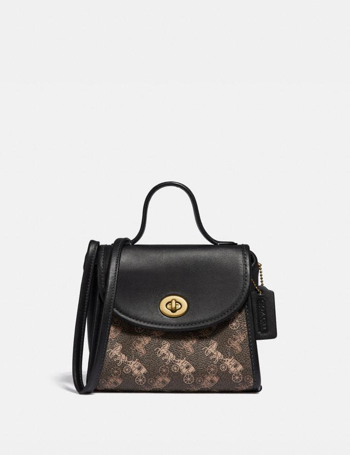 Coach Turnlock Top Handle With Horse and Carriage Print Brass/Brown Black
