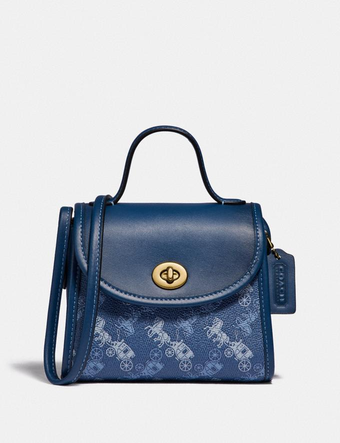 Coach Turnlock Top Handle With Horse and Carriage Print B4/Blue True Blue Women Bags Satchels