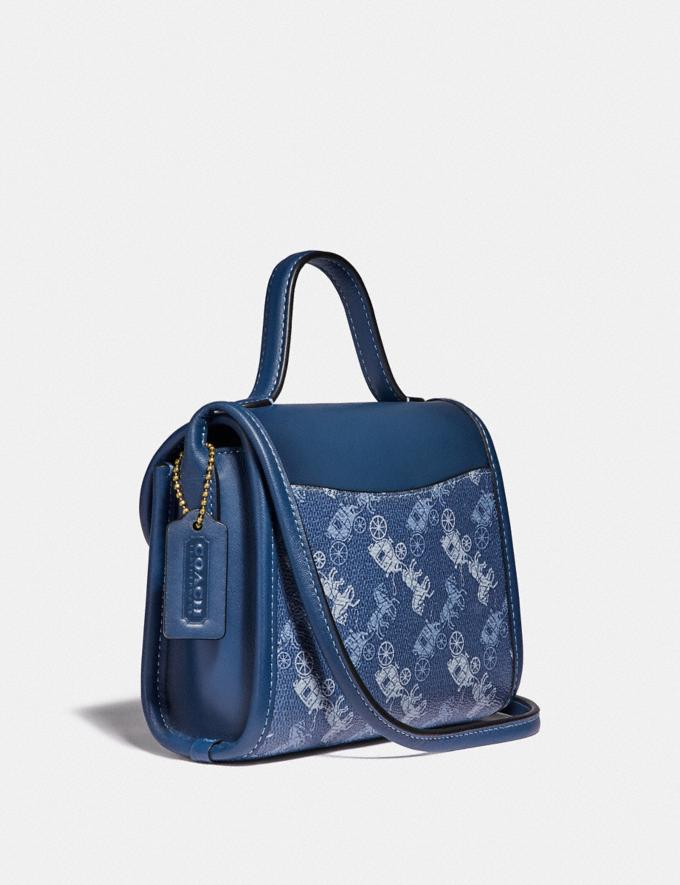 Coach Turnlock Top Handle With Horse and Carriage Print B4/Blue True Blue Women Bags Satchels Alternate View 1