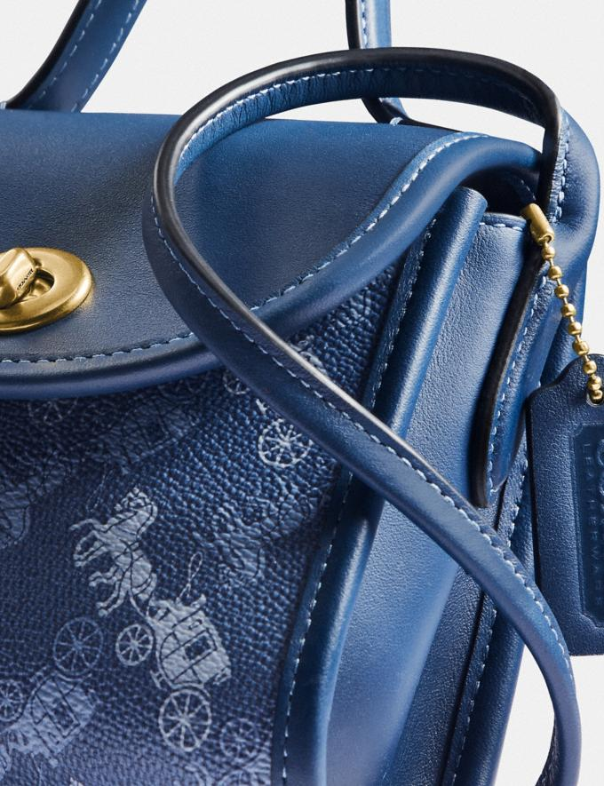 Coach Turnlock Top Handle With Horse and Carriage Print B4/Blue True Blue  Alternate View 4