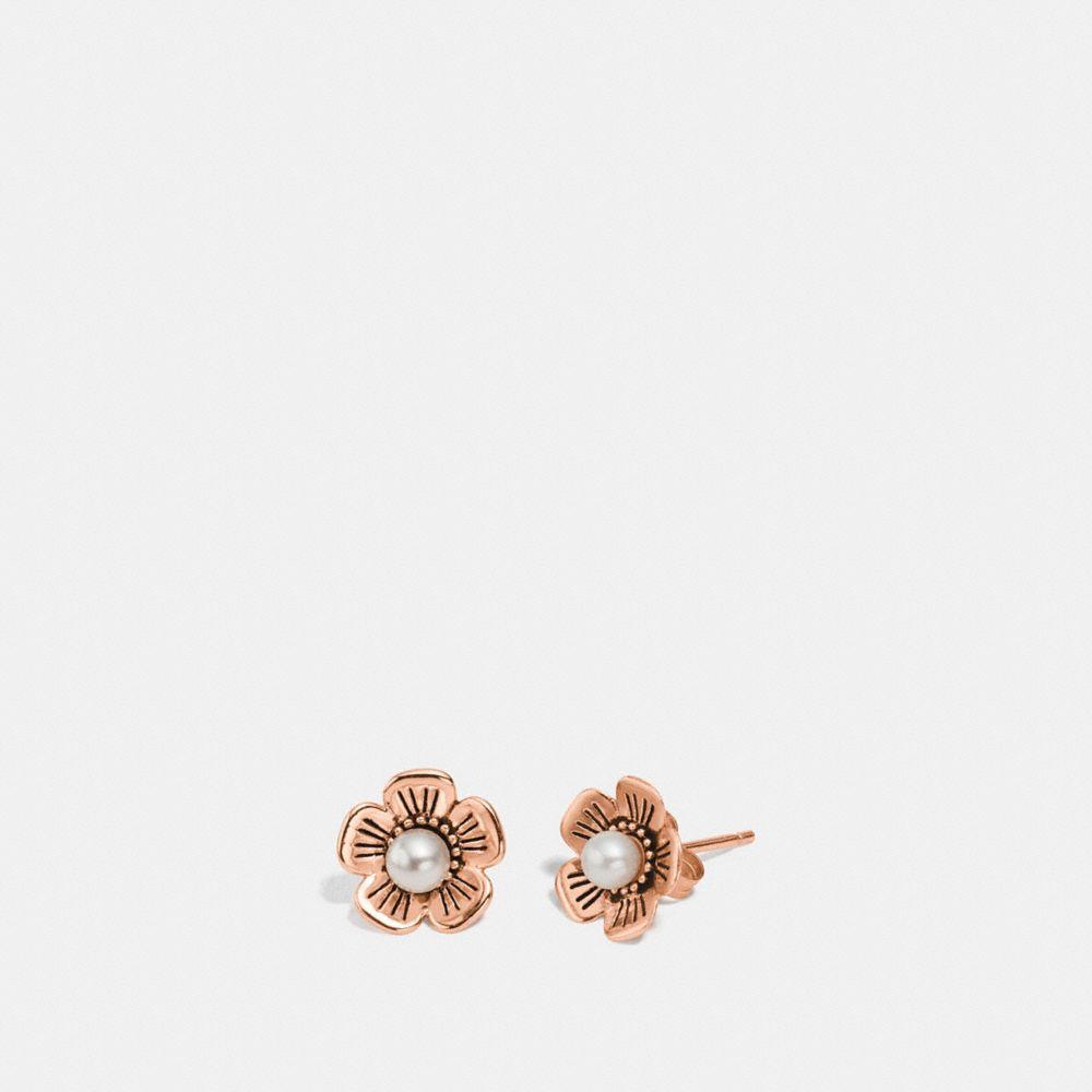 Coach Freshwater Pearl Tea Rose Earrings