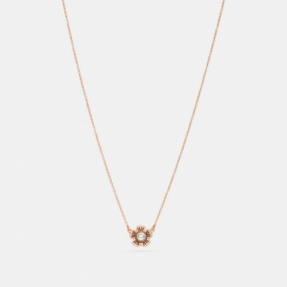 Coach Freshwater Pearl Tea Rose Necklace