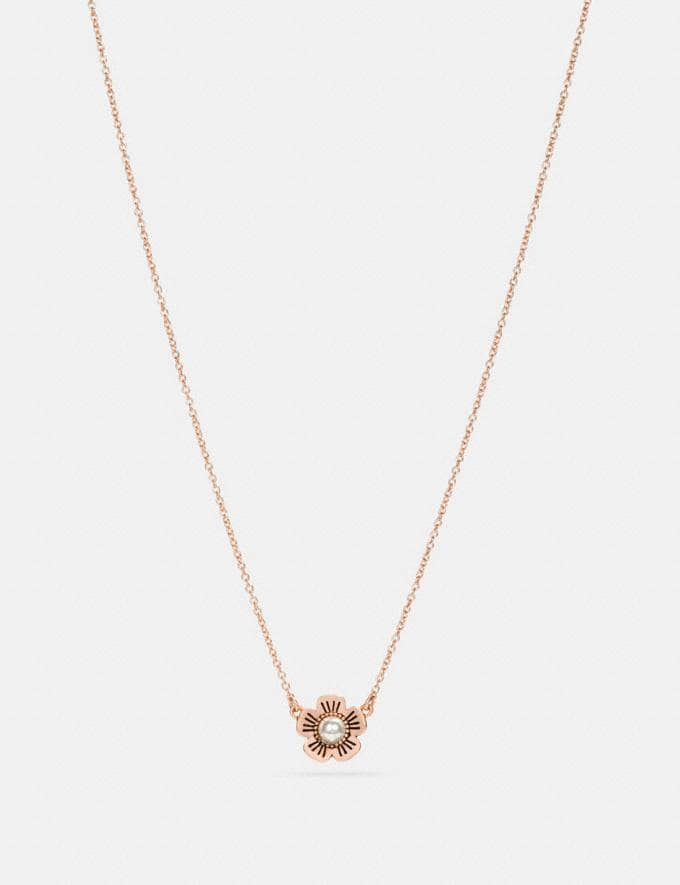 Coach Freshwater Pearl Tea Rose Necklace Rosegold