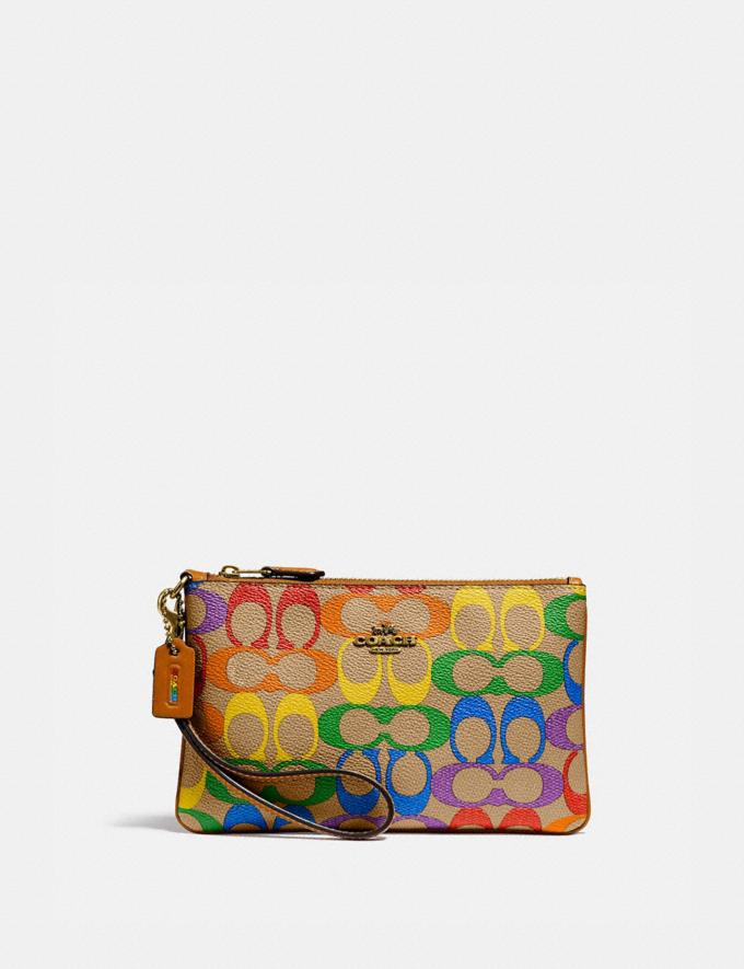 Coach Small Wristlet in Rainbow Signature Canvas Brass/Tan Penny Multi New Women's New Arrivals Wallets & Wristlets