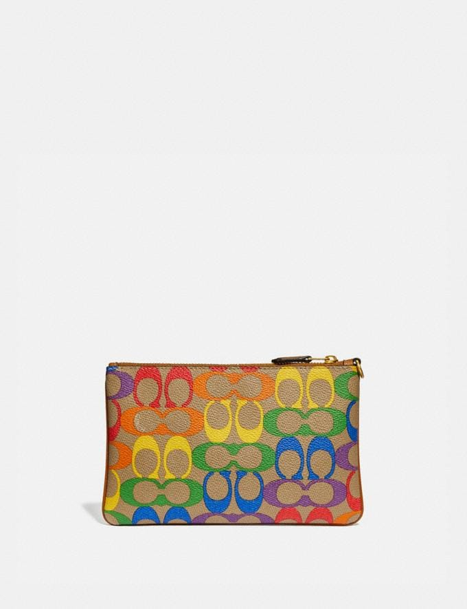 Coach Small Wristlet in Rainbow Signature Canvas Brass/Tan Penny Multi New Featured Coach Pride Collection Alternate View 1