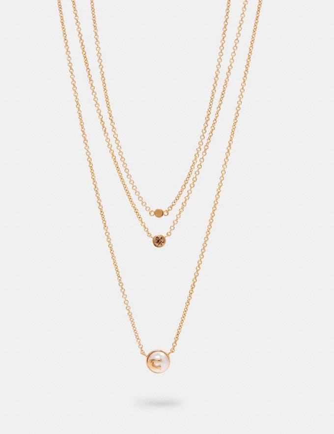 Coach Pearl Signature Layer Necklace Gd/Pink