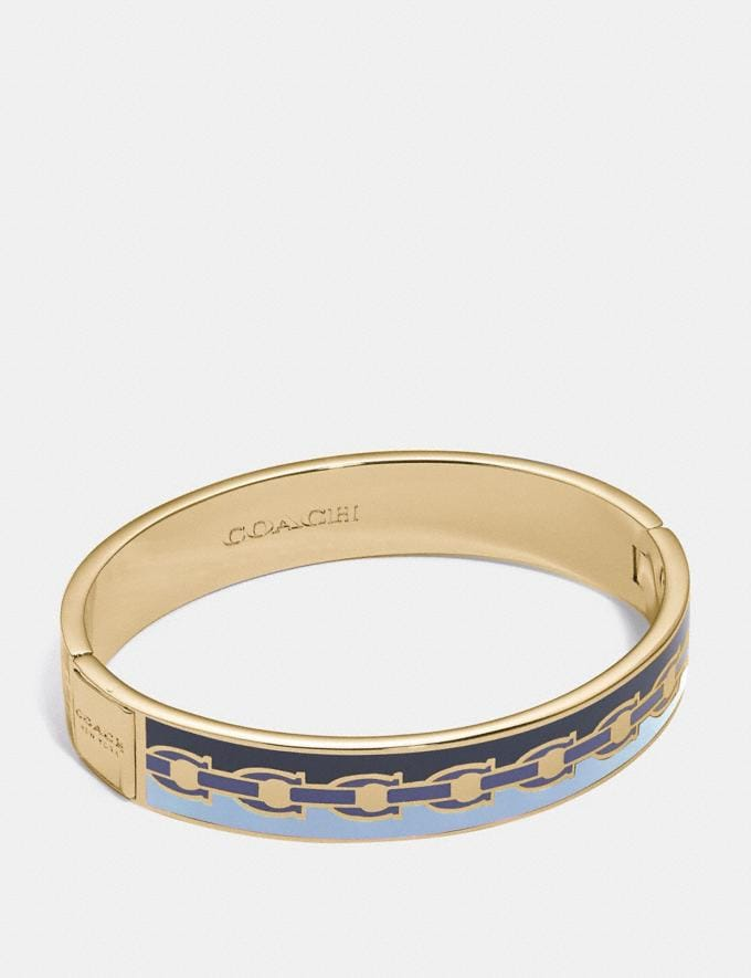 Coach Signature Chain Hinged Bangle Blue/Gold New Women's New Arrivals Accessories
