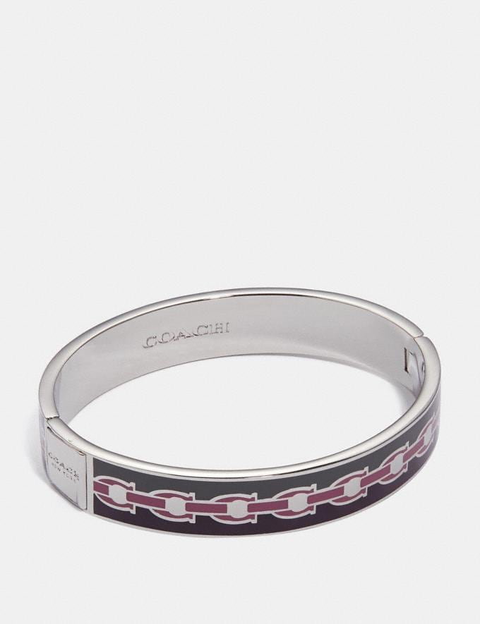 Coach Signature Chain Hinged Bangle Plum Multi/Silver Women Accessories Jewellery Bracelets