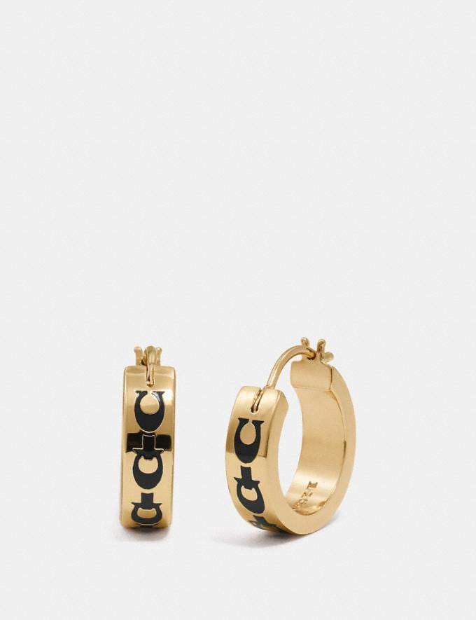 Coach Signature Chain Huggie Earrings Denim/Gold Gifts For Her Under £100