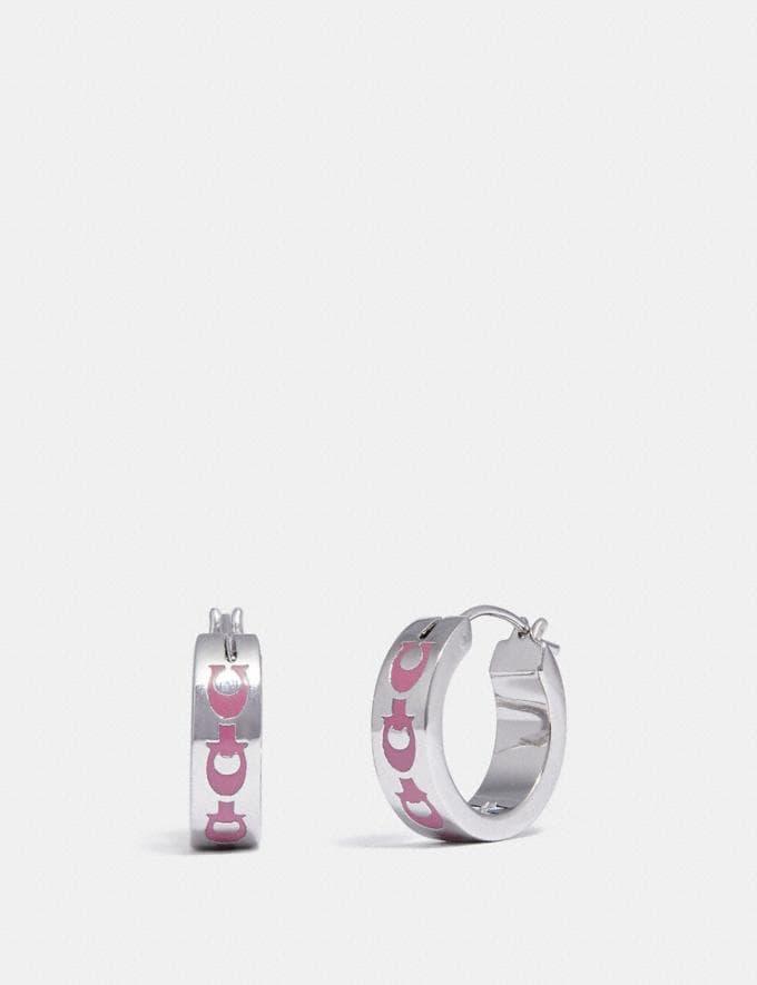 Coach Signature Chain Huggie Earrings Denim/Gold