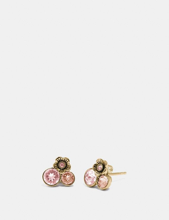 Coach Tea Rose Cluster Stud Earrings Rose/Gold Women Accessories Jewelry & Watches