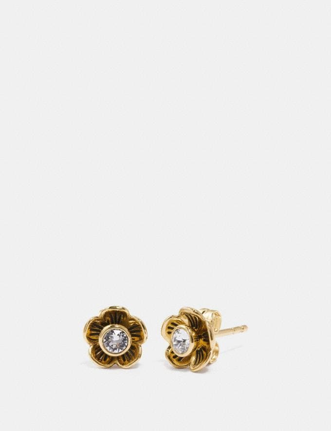 Coach Tea Rose Petal Earrings Clear/Gold Gifts For Her