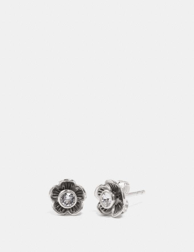 Coach Tea Rose Petal Earrings Clear/Silver Gifts For Her Bestsellers