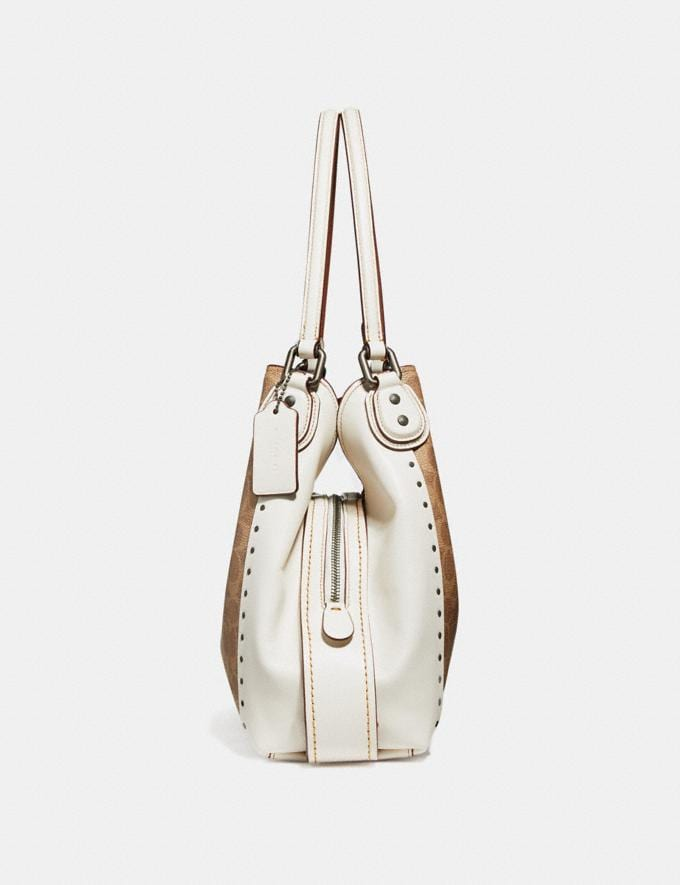Coach Edie Shoulder Bag 31 in Signature Canvas With Rivets Chalk/Black Copper null Alternate View 1
