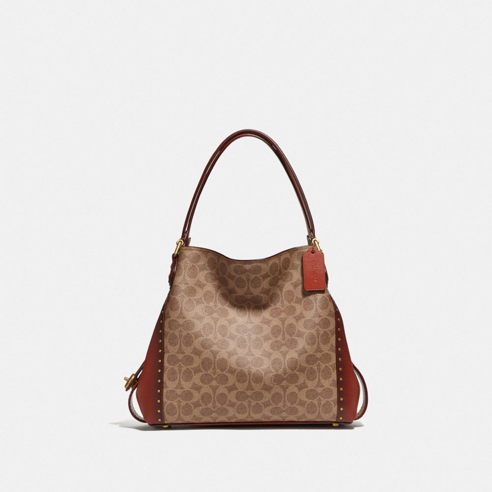Coach Edie Shoulder Bag 31 in Signature Canvas With Rivets