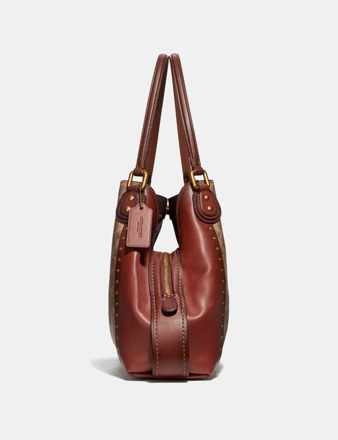 Coach Edie Shoulder Bag 31 in Signature Canvas With Rivets Rust/Brass Women Bags Alternate View 1