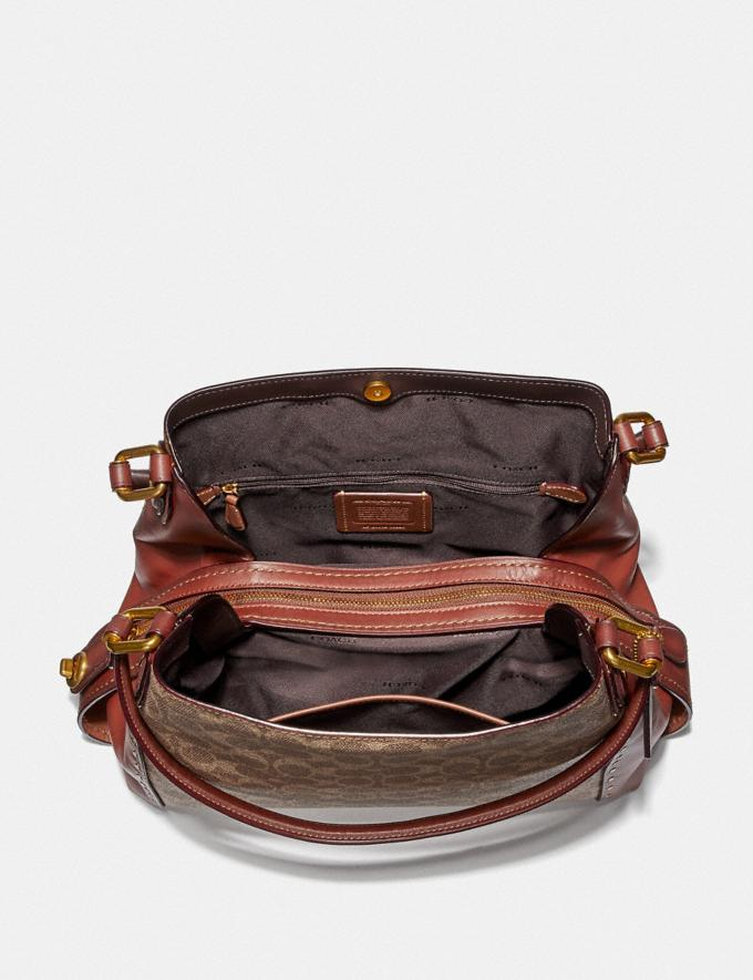 Coach Edie Shoulder Bag 31 in Signature Canvas With Rivets Rust/Brass Women Bags Alternate View 2