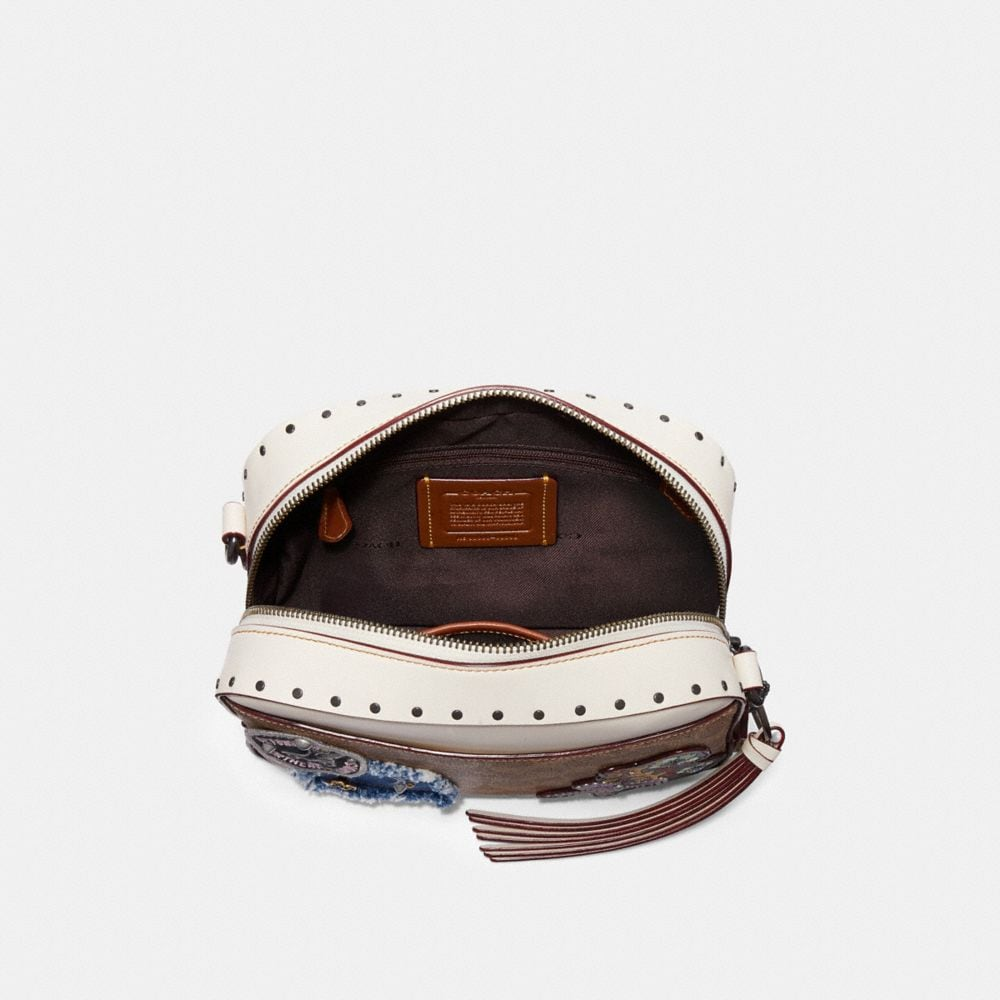Coach Camera Bag in Signature Canvas With Patches and Rivets Alternate View 2