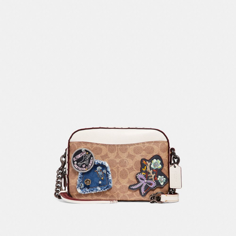 Camera Bag In Signature Canvas With Patches And Border Rivets by Coach