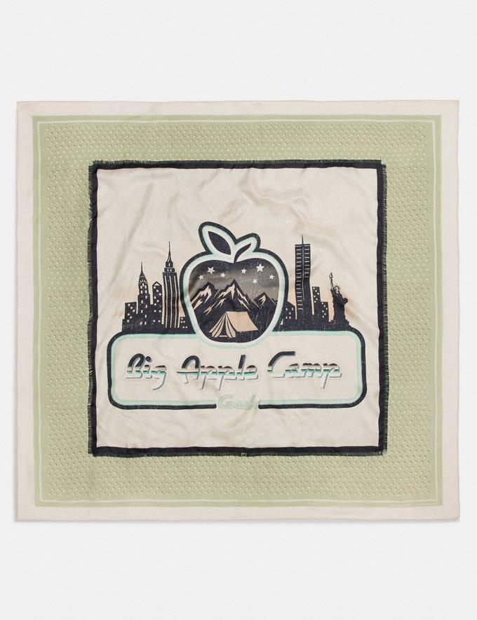 Coach Big Apple Camp Print Silk Oversized Square Scarf Green/Saddle New Women's New Arrivals Accessories